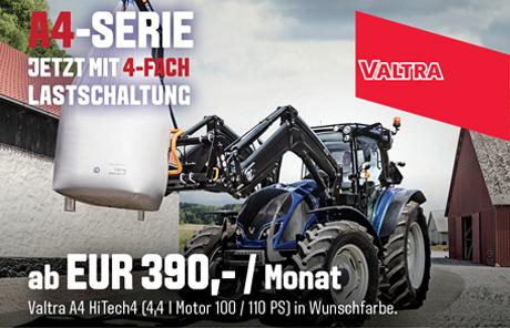 Valtra A4-Serie mit 4-fach Lastschaltung ab EUR 390,-/Monat